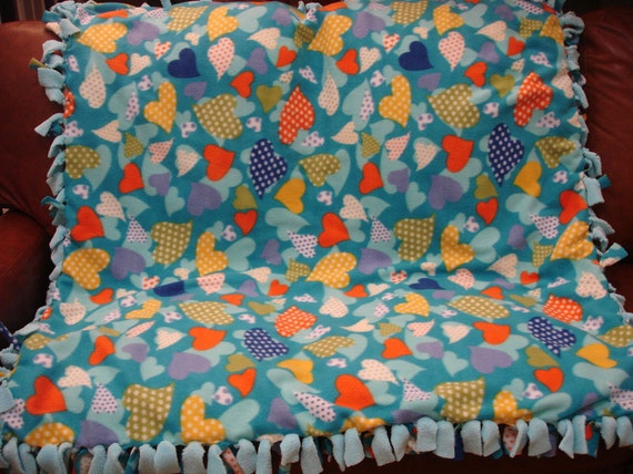 Cozy Hearts - Hand Tied Fleece Blanket 49 x 54 inches
