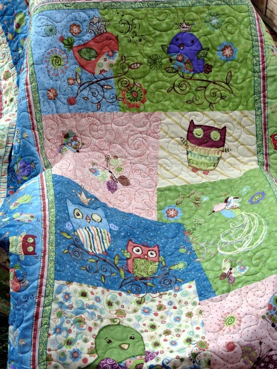 Nighty Night Owls Quilt -  Baby Crib/Child's Quilt and Play Mat 47 x 53 inches