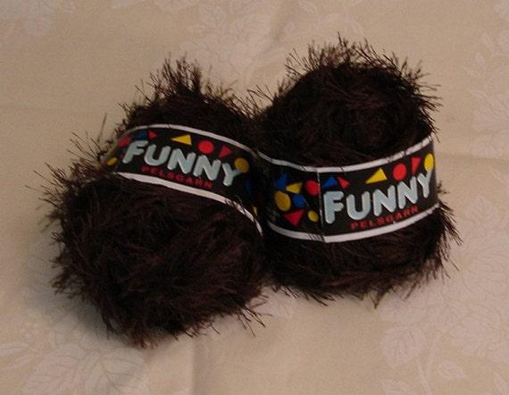 Destash Yarn - Funny - Brown Eyelash Yarn