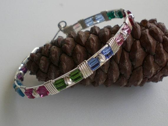 Crystal bangle bracelet, silver bangle bracelet, Swarovski crystals wire wrapped in silver bangle bracelet