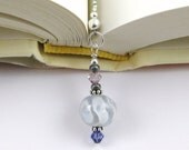 Cloudy Skies Lampwork Swarovski Crystal and Seed Bead Bookmark aka Book Thong a perfect addition to your library