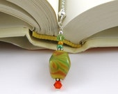 Painted Tiger Lampwork Swarovski Crystal and Seed Bead Bookmark aka Book Thong a perfect addition to your library
