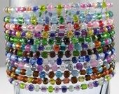 """Mix and Match Multicolor set of 12 seed bead bracelets SIZE LARGE 7 1/2"""""""