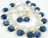 Blue Lady Kyanite coin and freshwater pearl luxe fringe bracelet and earrings