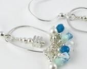 Seafoam aqua and white Swarovki sterling silver chandelier hoop earrings