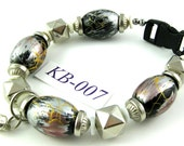 KB-007 black and silver acrylic Kitty Cat Bling Beaded Collar complete with breakaway buckle bell and tag ring