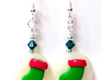 Christmas Stocking Swarovski Crystal Sterling Silver Christmas Earrings