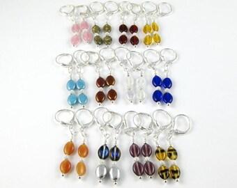 Multicolor Economy Pack Earrings 12 yup twelve pairs of Czech flat oval leverback earrings GREAT STOCKING STUFFERS