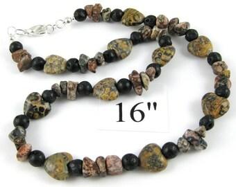 Leopardskin Jasper Black Lava Heart Choker Necklace 16 Inches