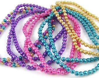 "Mardi Gras Metallic Tone Glass Set of Ten Seed Bead Stretchy Bracelets Size Large 7 1/2"""