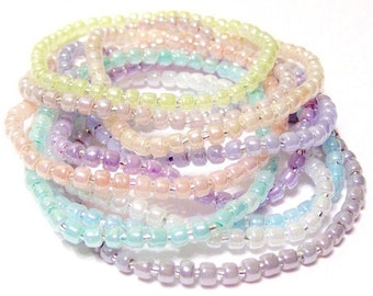 Pastel Seed Bead Stretchy Bracelets Set Of 10 Size M 7 Inches