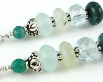 Caribbean Cruise Stacked Gemstone Rondelle Earrings in blue aqua and green