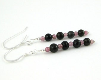 Tempting Tourmaline Pink and Green sterling silver french hook earrings