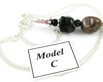 Tumbled Tourmaline Nugget Pendant necklace on a sterling silver chain MODEL C
