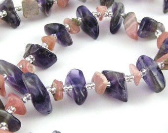 Aloha 16 inch gemstone chip choker in purple amethyst and pink rhodochrosite