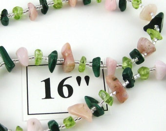 Watermelon Patch 16 inch gemstone chip choker with magnetic clasp