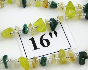 Key Lime Green 16 inch gemstone chip choker with magnetic clasp