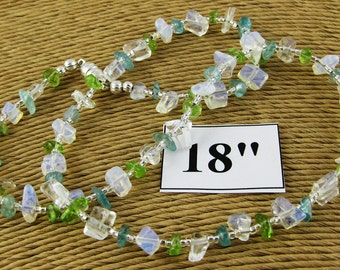 Laguna Aqua and Green 18 inch gemstone chip choker with magnetic clasp