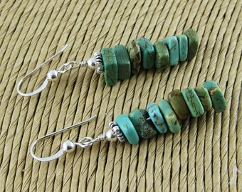 Anasazi stacked turquoise squares sterling silver french hook earrings