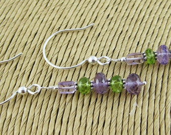 Provence amethyst and peridot stacked rondelle sterling silver earrings