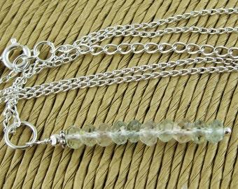 Esmerelda shaded aquamarine microfaceted rondelle sterling silver pendant necklace