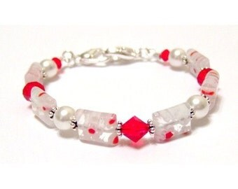 Millefiori Swarovski Bicone and Pearl Red and White Beaded Watchband 6 Inch