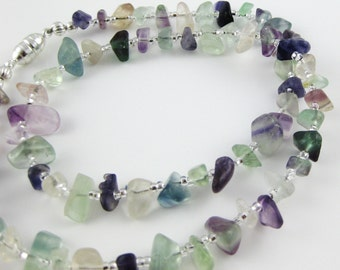 Rainbow Falls II 18 inch gemstone chip choker in gorgeous multicolor rainbow fluorite