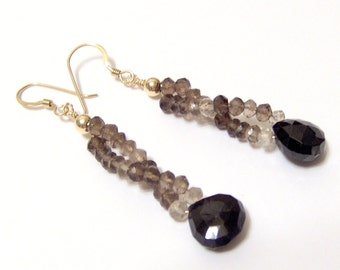Black Spinel and Shaded Smoky Quartz Briolette Earrings