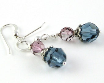 Tres Jolie antique pink and denim blue Swarovski sterling silver earrings