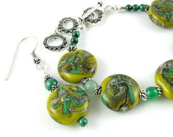 Lush Savanna green lampwork gemstone and sterling silver bracelet and earrings set