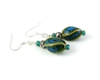 Blue Green Teal Pottery Bead French Hook Earrings TWIST