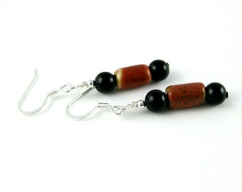 Brick Red and Black Pottery Bead French Hook Earrings PETITE TUBE