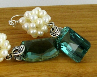Fairy Bride ultra luxe green amethyst and freshwater pearl sterling silver earrings
