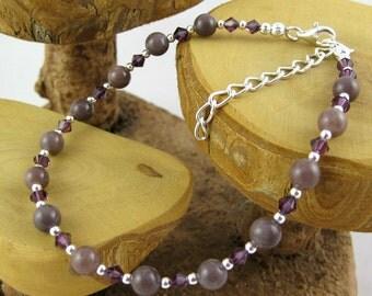 Purple Aventurine grape gemstone and Swarovski crystal ankle bracelet