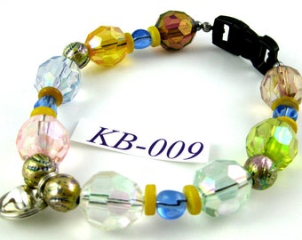 KB-009 multicolor acrylic shell and glass Kitty Cat Bling Beaded Collar complete with breakaway buckle bell and tag ring