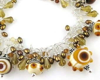 Caramel Mocha Luxe Lampwork Bracelet and Earrings Set .... featuring beer quartz hessonite and brown freshwater pearls