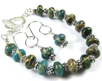 Seaside Aqua Terra Jasper Sterling Silver Bracelet and Matching Earrings