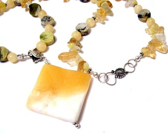 Lemon Lover Natural Rugged Gemstone Necklace featuring citrine aragonite yellow flower turquoise and Hill Tribe sterling silver