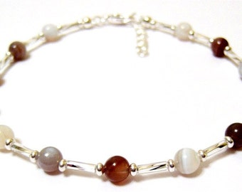 Multicolor Botswana Agate Stone Bead Ankle Bracelet ... awesome summer time accessory