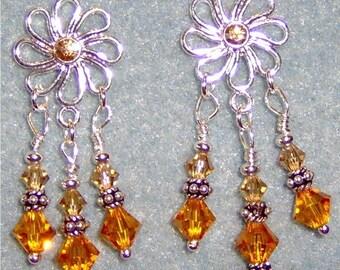 Swarovski Crystal Daisy Sterling Silver Post Chandelier Earrings Topaz