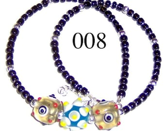 Child Lampwork Bead Necklace Adjustable from 15 to 16 Inches Model 008