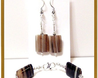 Black and Brown Striped Agate Rectangles Sterling Silver Bracelet and Earrings Set SALE PRICE