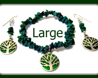 Malachite Chip Green Tree Charm Bracelet and Earrings Set LARGE (8 1/2 Inches)
