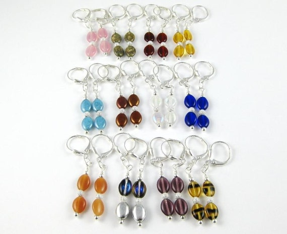 Multicolor Economy Pack Earrings 12 yup twelve pairs of Czech flat oval leverback earrings GREAT STOCKING STUFFERS