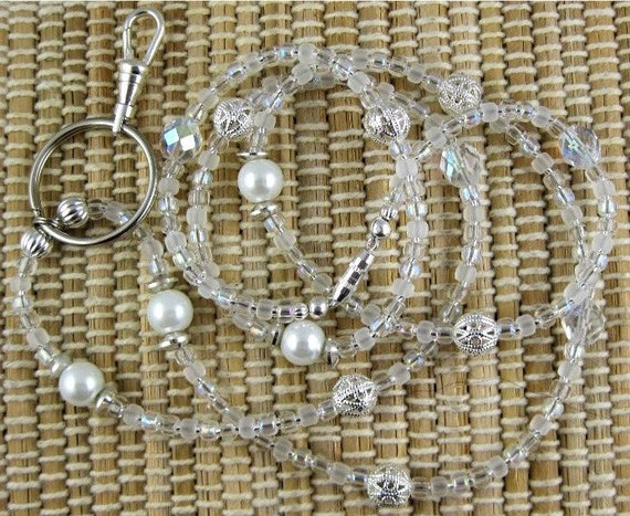 White Diamond Czech Crystal and Pearl Lanyard ... Perfect for ID Badges Glasses Whatever You Desire