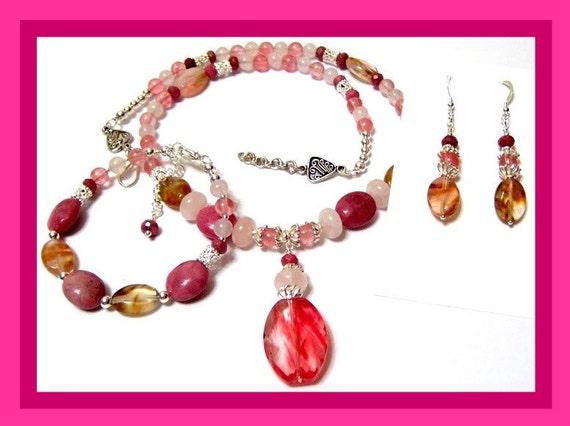Pink Cherry Blossoms In Spring Signature Design Featuring Cherry Quartz Rhodonite and Rose Quartz