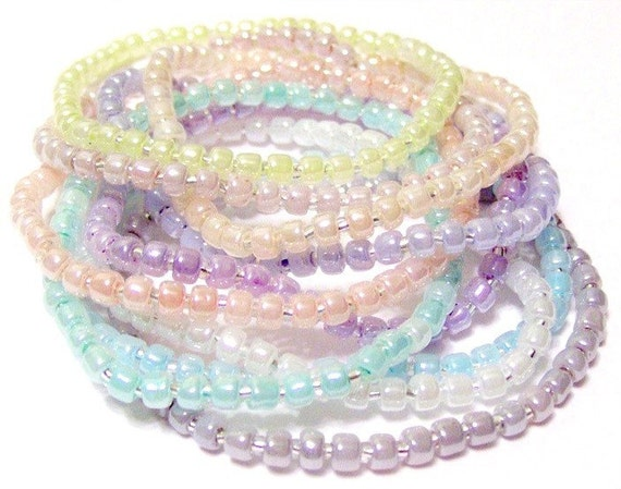 Pastel Seed Bead Stretchy Bracelets Set Of 10 Size L 7 1/2 Inches