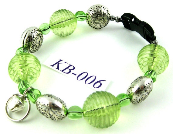 KB-006 Lime Green glass and silver acrylic Kitty Cat Bling Beaded Collar complete with breakaway buckle bell and tag ring