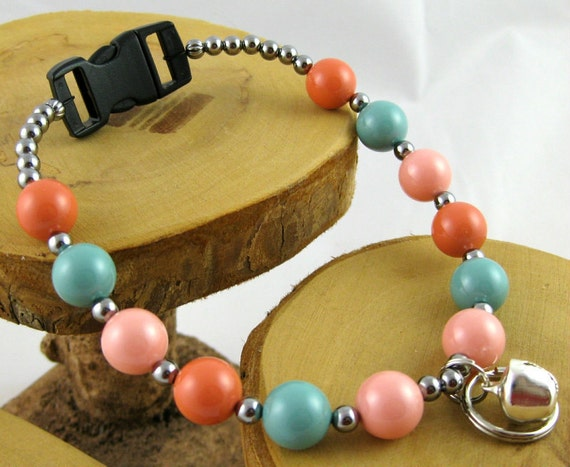 Santa Fe Soft Southwestern Colors Swarovski Pearl Kitty Cat Bling Beaded Collar complete with breakaway buckle bell and tag ring
