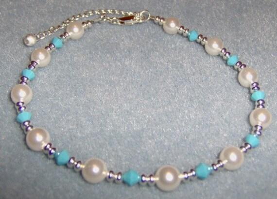 Swarovski Pearl And Crystal Ankle Bracelet Turquoise